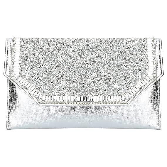 HT Ladies Handbags - Cartera de mano para mujer plateado plata: Amazon.es: Ropa y accesorios