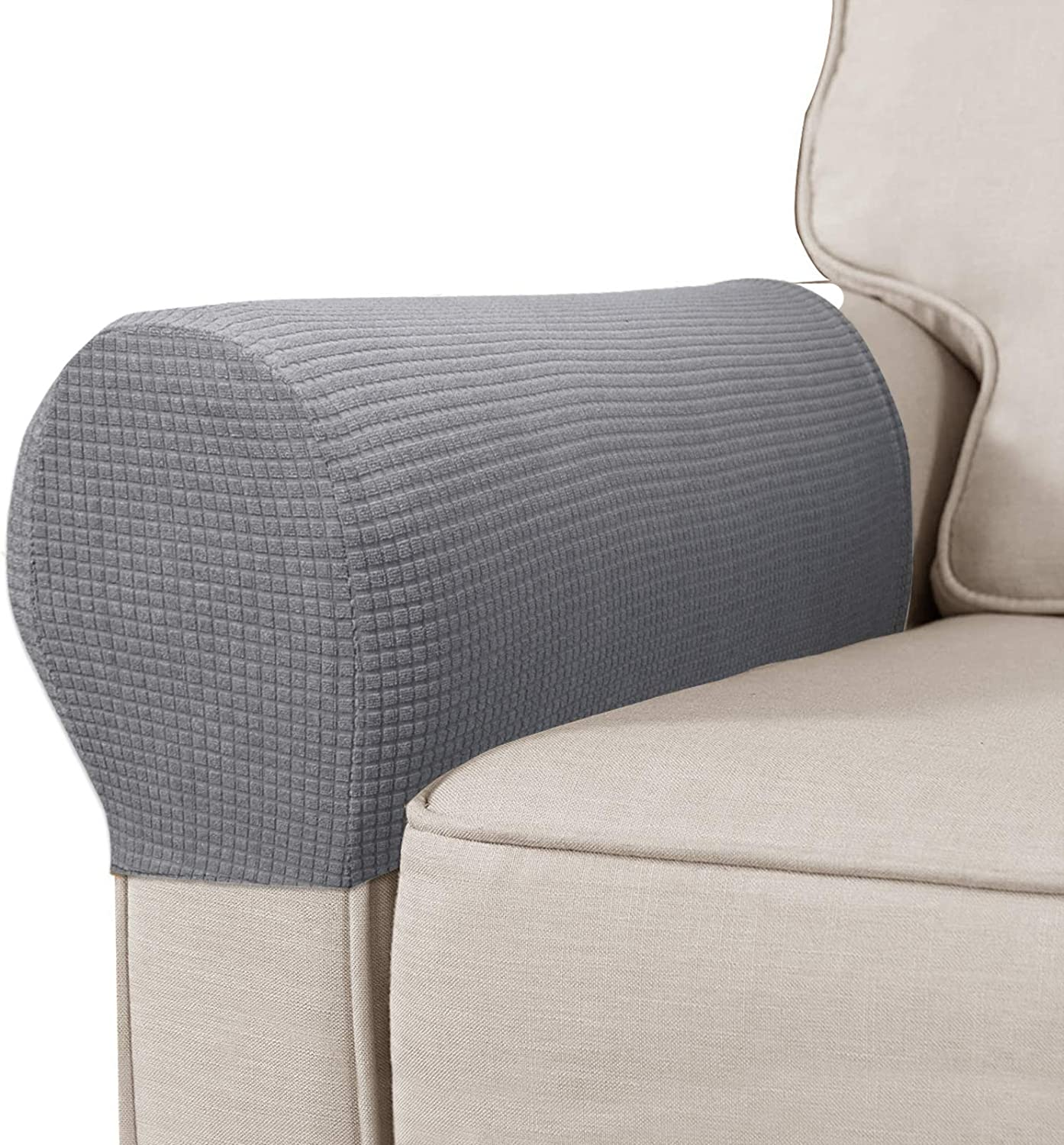 High Stretch Polyester Sofa Armchair Armrest Covers Slipcovers Waterproof Furniture Protector Spandex Fabric Anti-Stain Washable Couch Arm Cover Slipcover, Set of 2 (Light Gray)