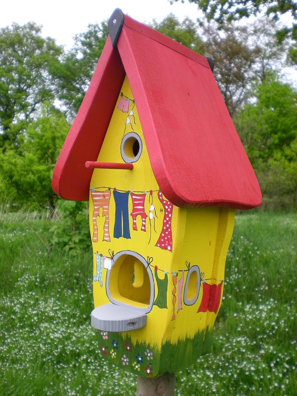 Original Die Vogelvilla, Minivilla Spezial Bunte Wäsche, Vogelhaus & Nistkasten, 2in1, gelb