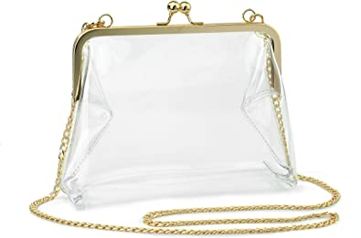 WOMENS BELT CLEAR TRANSPARENT SILVER GOLD BLACK TRIM
