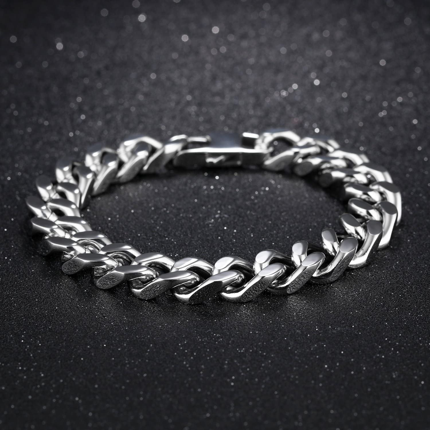 Mens Stainless Steel Bracelet Curb Chain Bracelet Silver Color High Polished Length 8.5-8.9 Inch With Gift box Perfect Jewellery Gift for Boyfriend 12mm