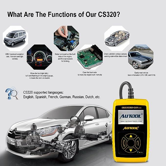 Amazon.com: Car Engine Fault Code Reader Autool CS320 OBDII Car ...