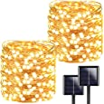 2-Pack Each 72ft 200LED Solar String Lights Outdoor, Super Bright Solar Christmas Lights (Upgraded Oversize Lamp Beads), Waterproof 8 Modes Fairy Lights for Christmas Party Wedding (Warm White)