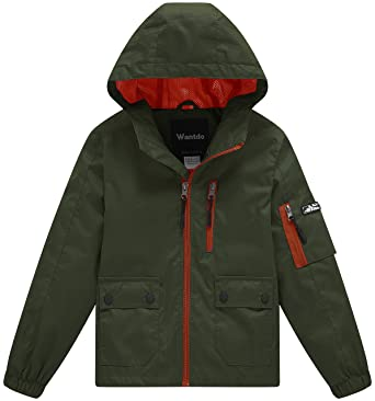 ac27c352c8d3 Amazon.com  Wantdo Boy s Spring Camping Rain Jacket Lightweight Mesh ...