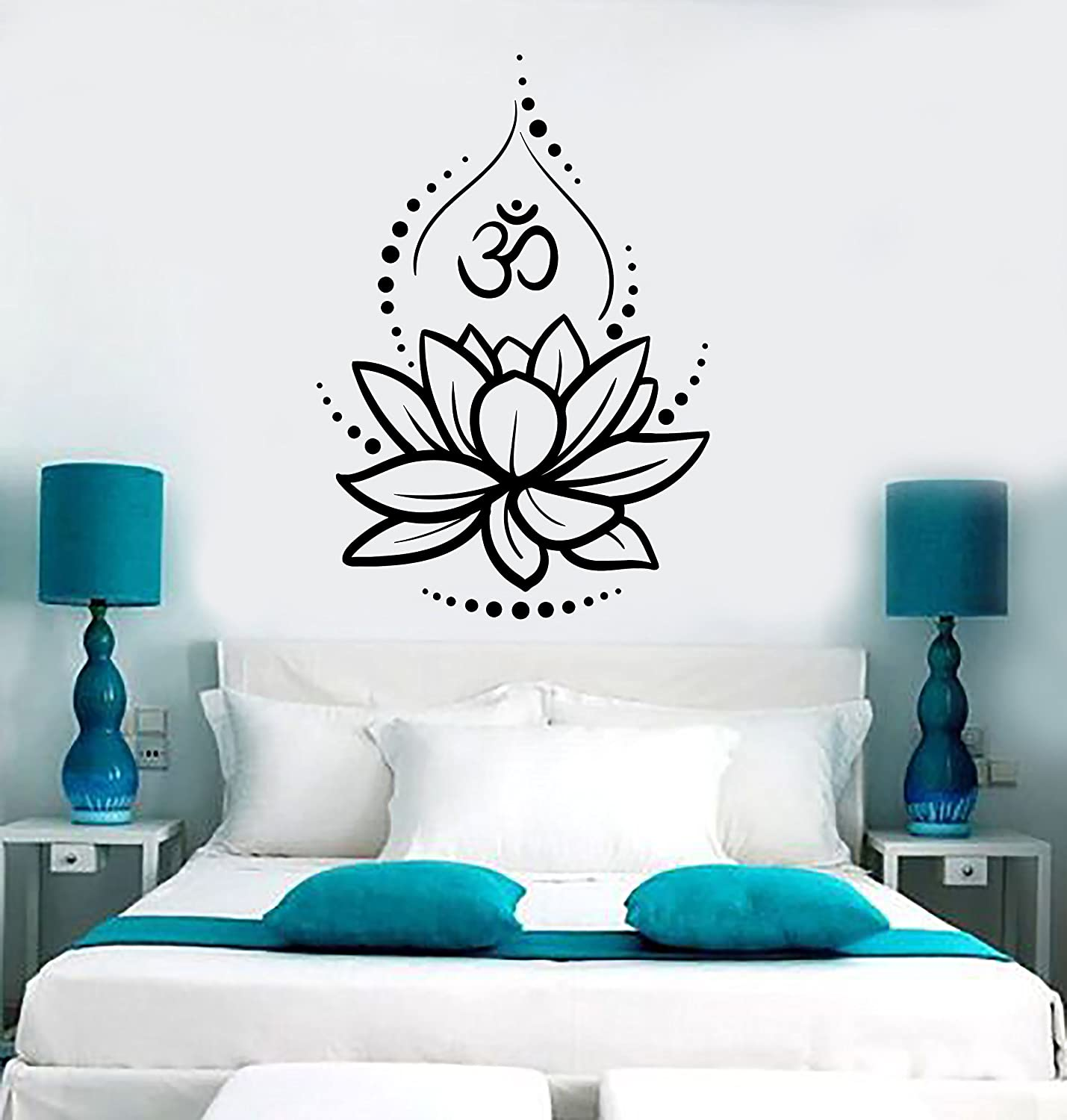 Large Vinyl Wall Decal Lotus Flower Yoga Hinduism Hindu Om Symbol Stickers Large Decor (ig4625) Black
