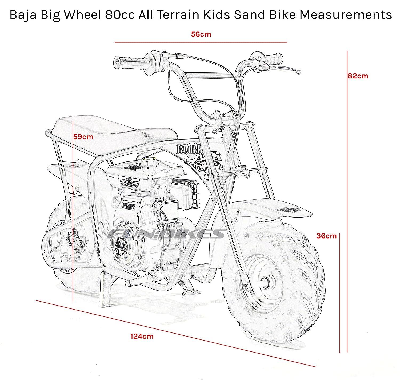 Baja Big Wheel Black 80cc 59cm All Terrain Kids Sand Bike Amazonco 49cc Wiring Diagram Sports Outdoors