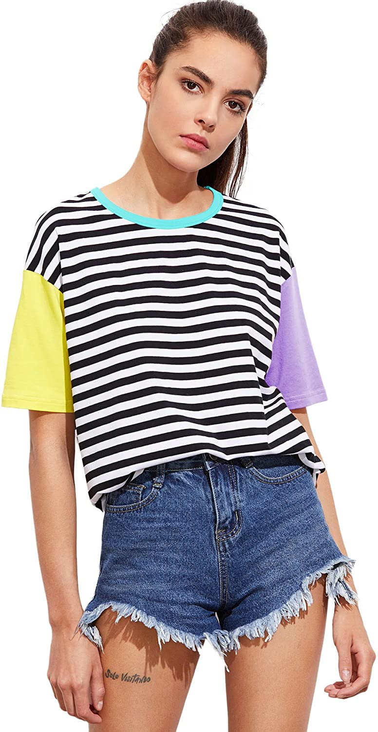 1980s Clothing, Fashion | 80s Style Clothes Romwe Women Crewneck Striped Short Sleeve T-Shirt Top Blouse $18.99 AT vintagedancer.com