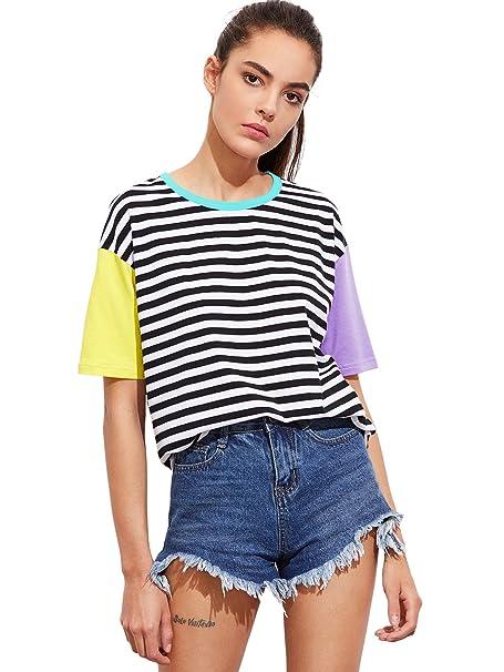 e9e8e76d8a Amazon.com: Romwe Women Crewneck Striped Short Sleeve T-Shirt Top ...