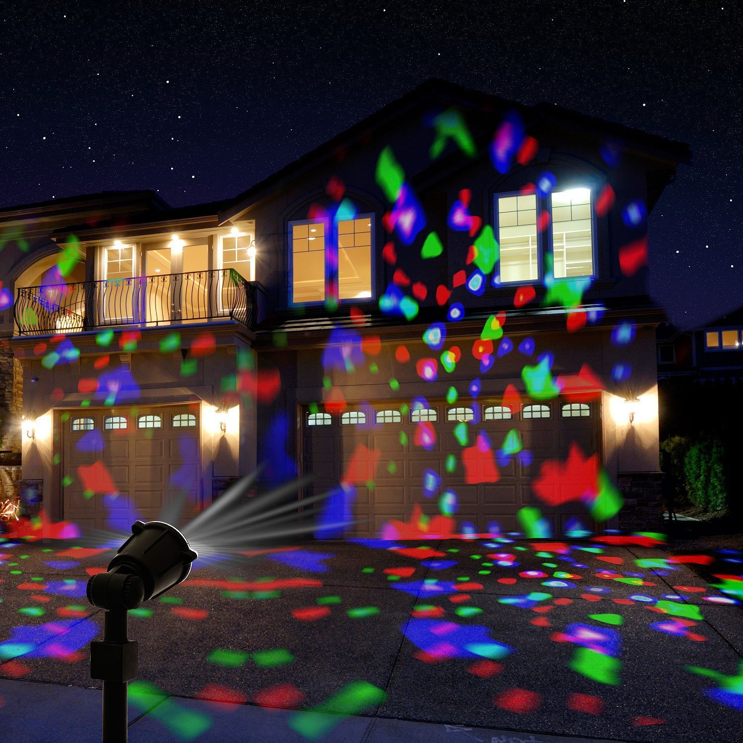 Lazer light projector amazon sentik 3 led rotating party spotlight projector light with flame lightings for indoor outdoor christmas mozeypictures Gallery