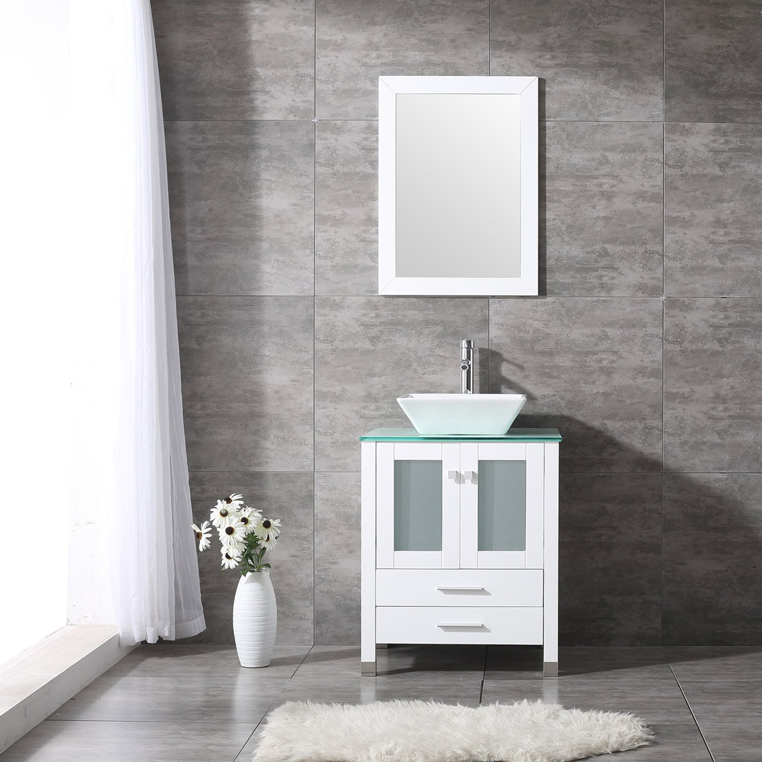 "BATHJOY 24"" White Bathroom Wood Vanity Cabinet Top Square Ceramic Vessel Sink Faucet Drain Combo with Mirror Vanities Set by BATHJOY"