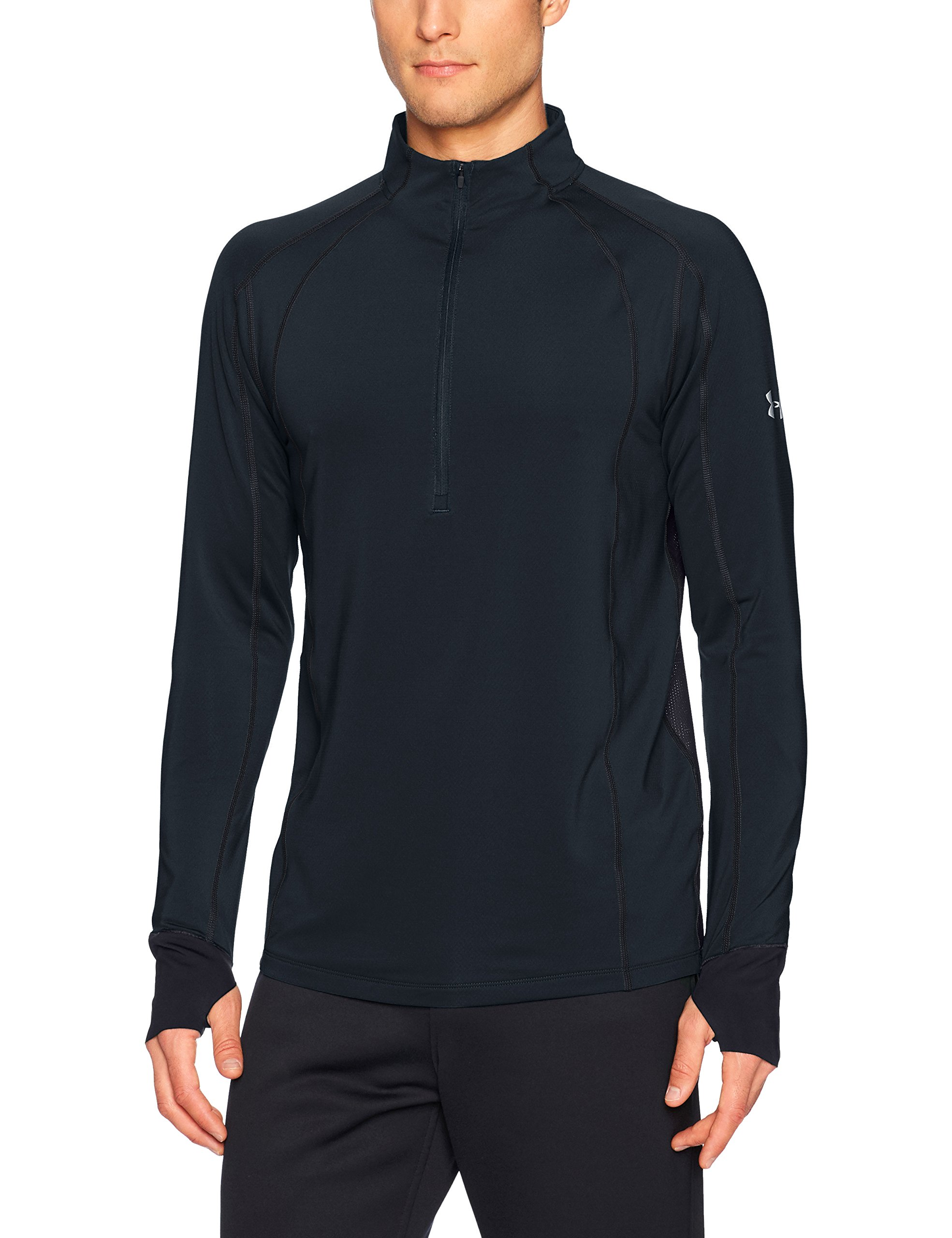 Under Armour Men's ColdGear Reactor Run ½ Zip,Black (001)/Reflective, Small