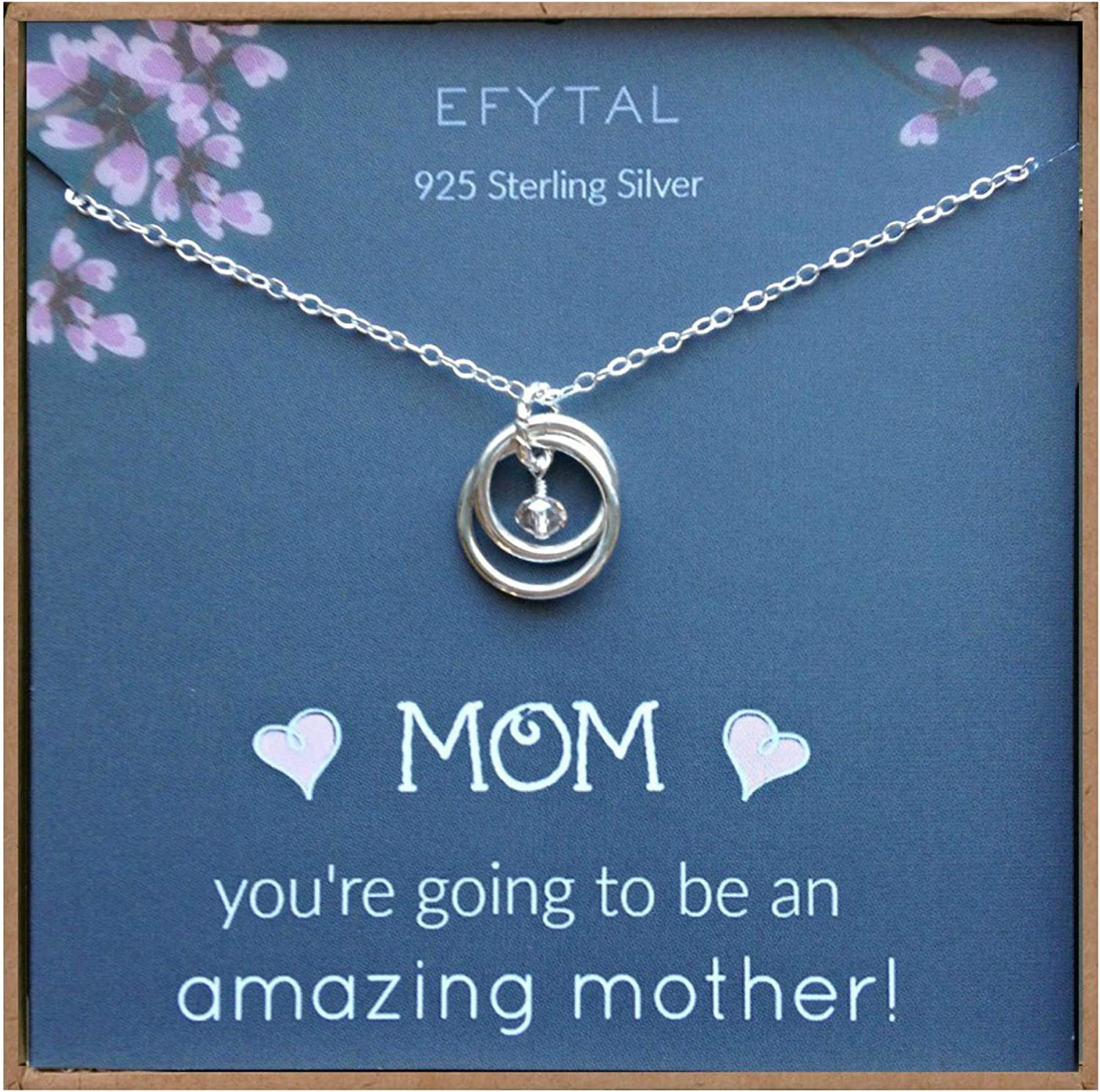 EFYTAL Baby Shower Gift, Sterling Silver Pregnancy Necklace for Expecting New Mom,...