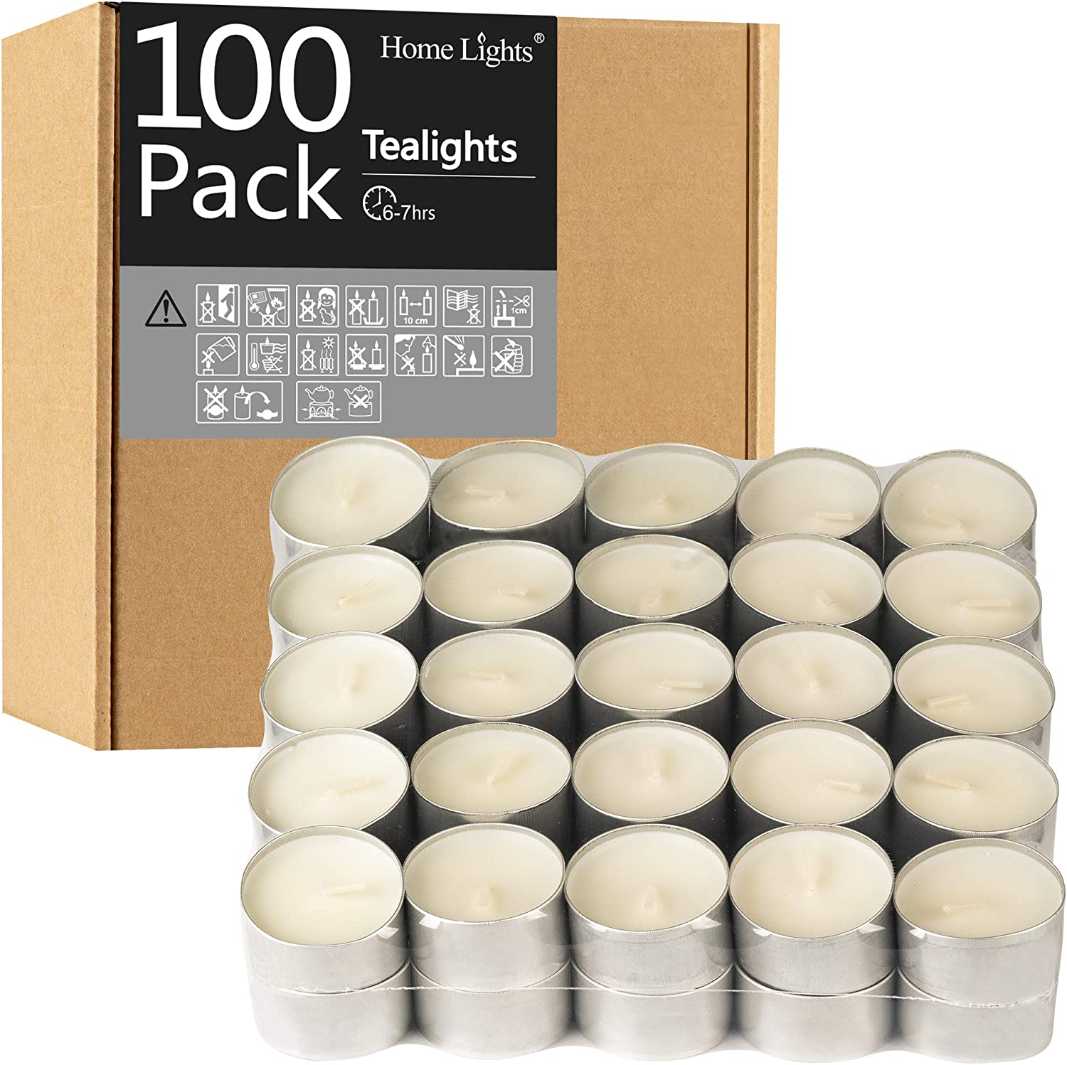 HomeLights Unscented White Tealight Candles -100 Pack, 6 to 7 Hour Burn Time Smokeless Tea Light Candles, Mini Votive Paraffin Candles with Cotton Wicks for Shabbat, Weddings, Christmas, Home Decor