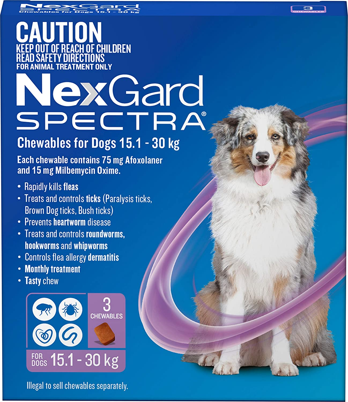 Nexgard, Flea, Tick & Worming Monthly Chew, Spectra, Dog, 15.1-30kg, 3pk