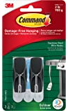 Command Outdoor Stainless Steel Wire Hooks with Foam Strips, 2 Hooks (17065S-AWES)