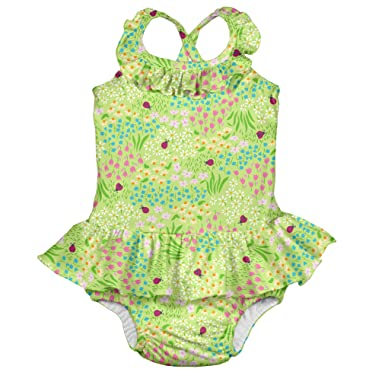 75c6e5f8e5757 i play. Toddler Girls' 1pc Ruffle Swimsuit with Built-in Reusable Absorbent  Swim