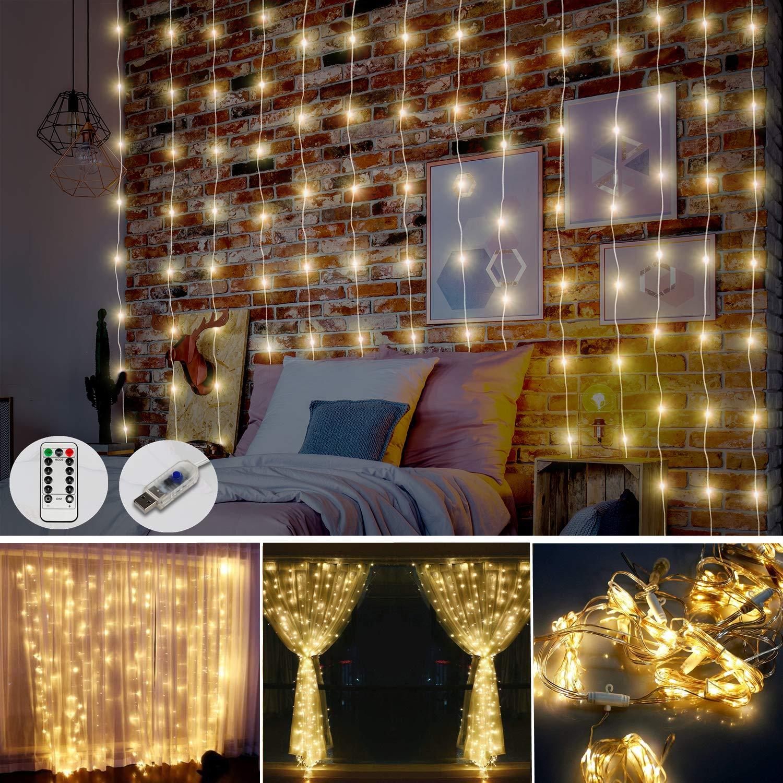 Juhefa Window Curtain Lights,USB Powered Fairy Lights String,8 Modes Christmas Lights for Bedroom Patio Wedding Holiday Halloween Party Wall Decor (300 LEDs Warm White,9.8x9.8Ft)