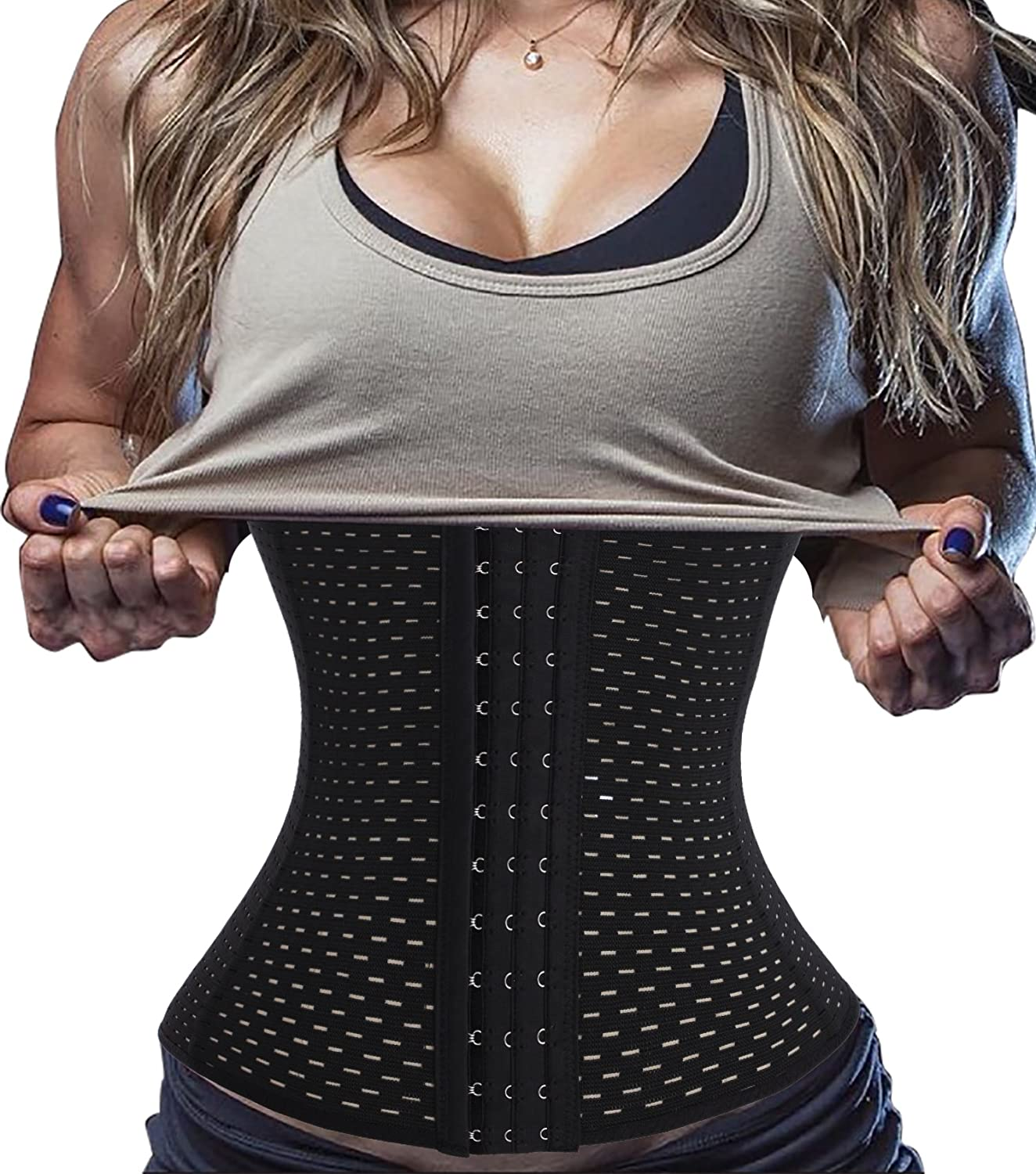 Hourglass Waist Trainer Corset Tummy Cincher Control Workout Sport for Weight Loss Breathable Firm Control