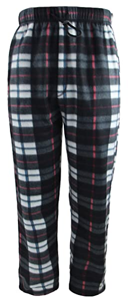 1dc39d9d41 Men s Plaid Fleece Pajama Pants with Drawstring and Elastic Waistband  (Black
