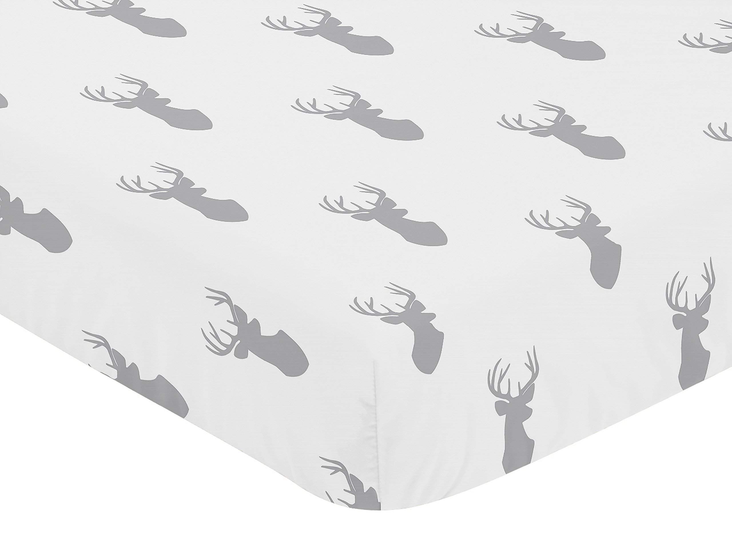 Sweet Jojo Designs Fitted Crib Sheet for Grey and White Woodland Deer Baby/Toddler Bedding Set Collection - Deer Print