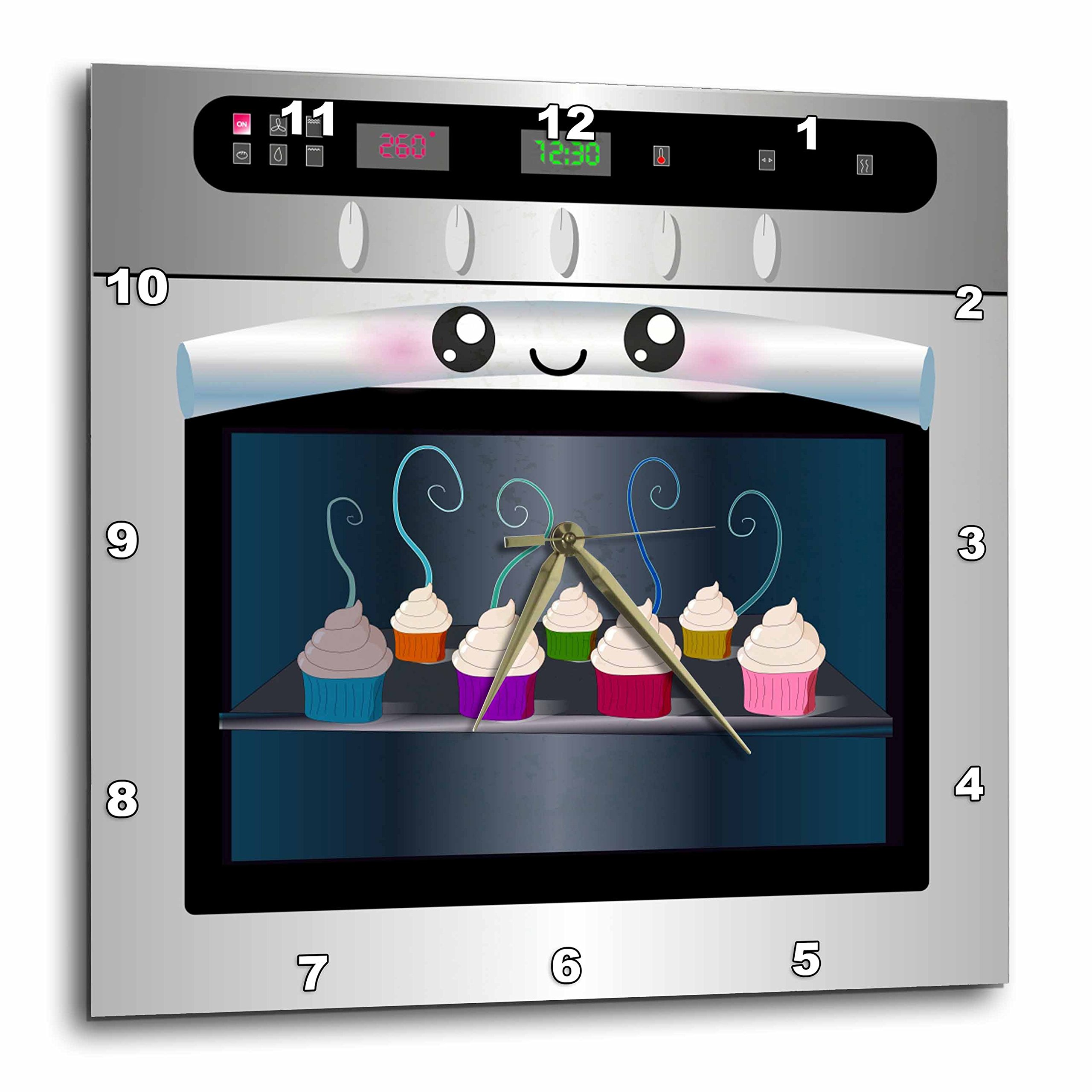 3dRose DPP_58309_1 Cute Kawaii Happy Smiling Oven Filled with Baking Cupcakes for Chefs Foodies and Cooking Fans Wall Clock, 10 by 10-Inch by 3dRose
