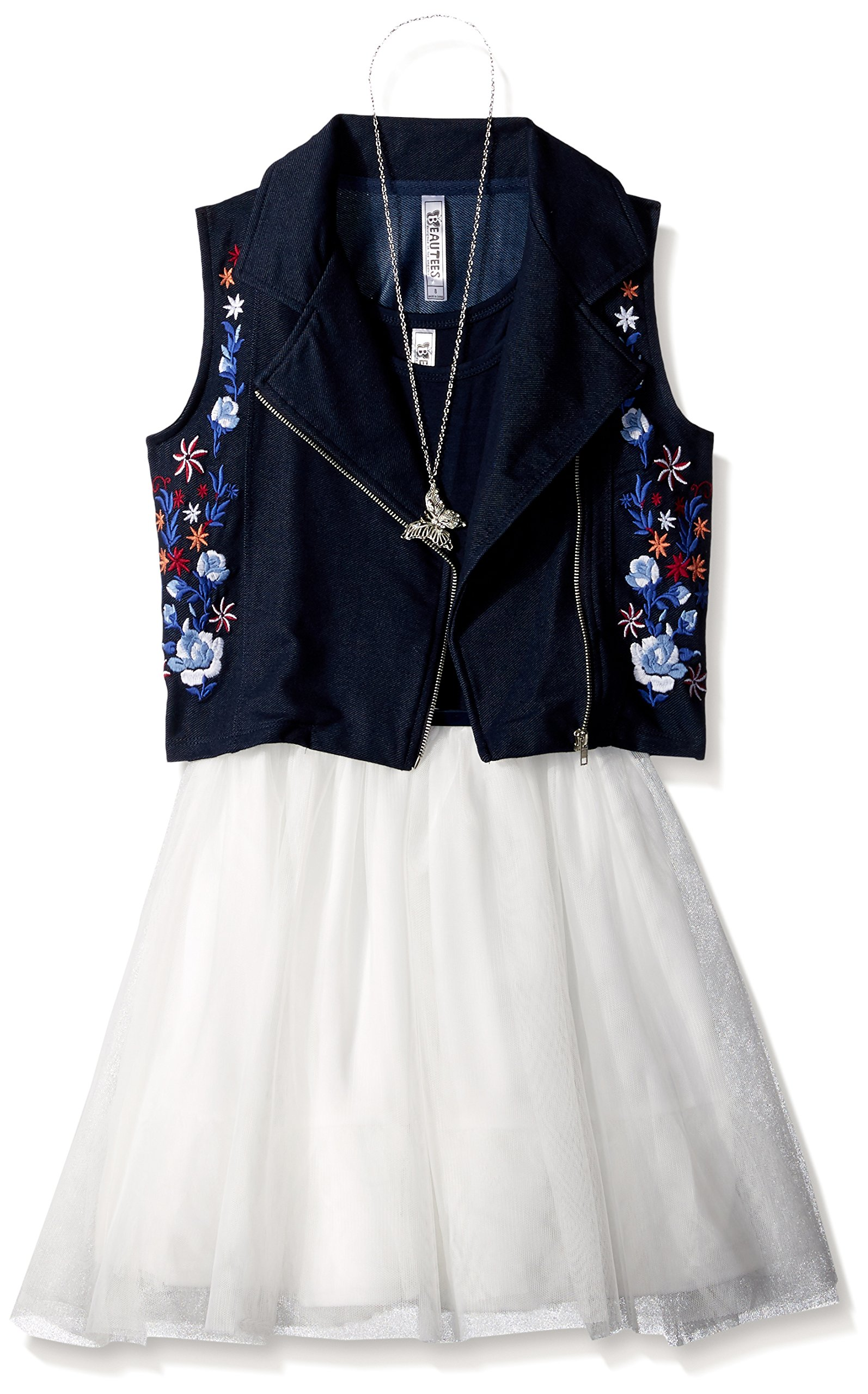 Beautees Big Girls' 2pc Moto Embroidered Jacket/SL Toulle Dress, Denim, 16