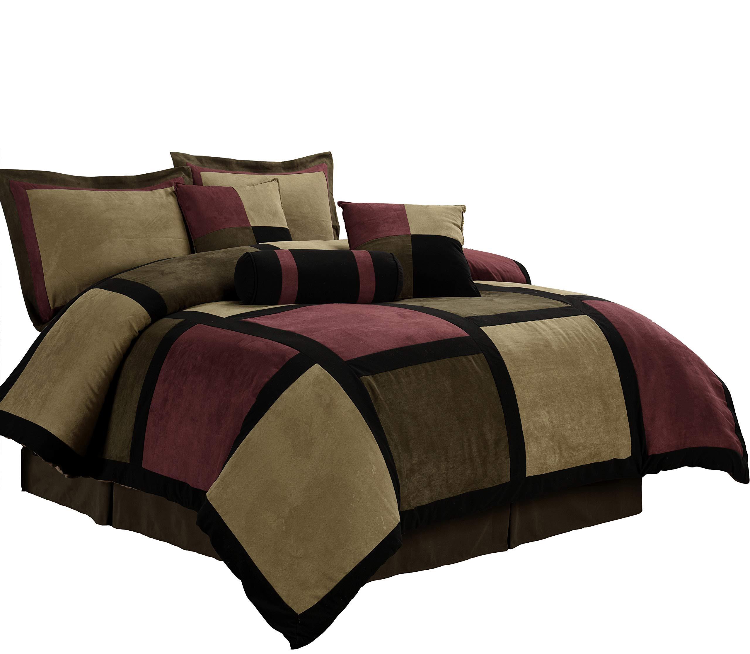 Chezmoi Collection Micro Suede Patchwork 7-Piece Comforter Set, Queen, Brown/Burgundy/Black