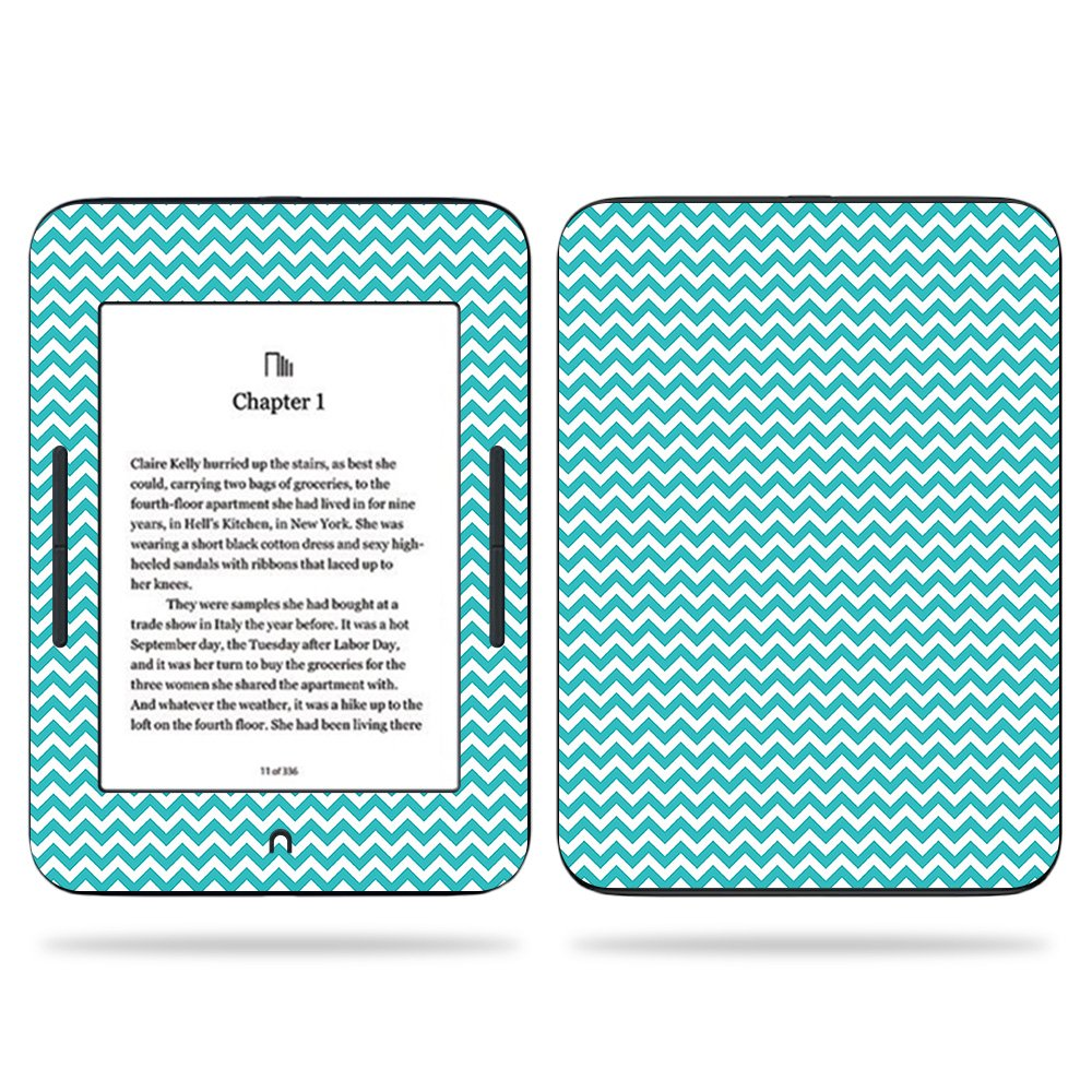 MightySkins Skin For Barnes & Noble NOOK GlowLight 3 (2017) - Turquoise Chevron | Protective, Durable, and Unique Vinyl Decal wrap cover | Easy To Apply, Remove, and Change Styles | Made in the USA