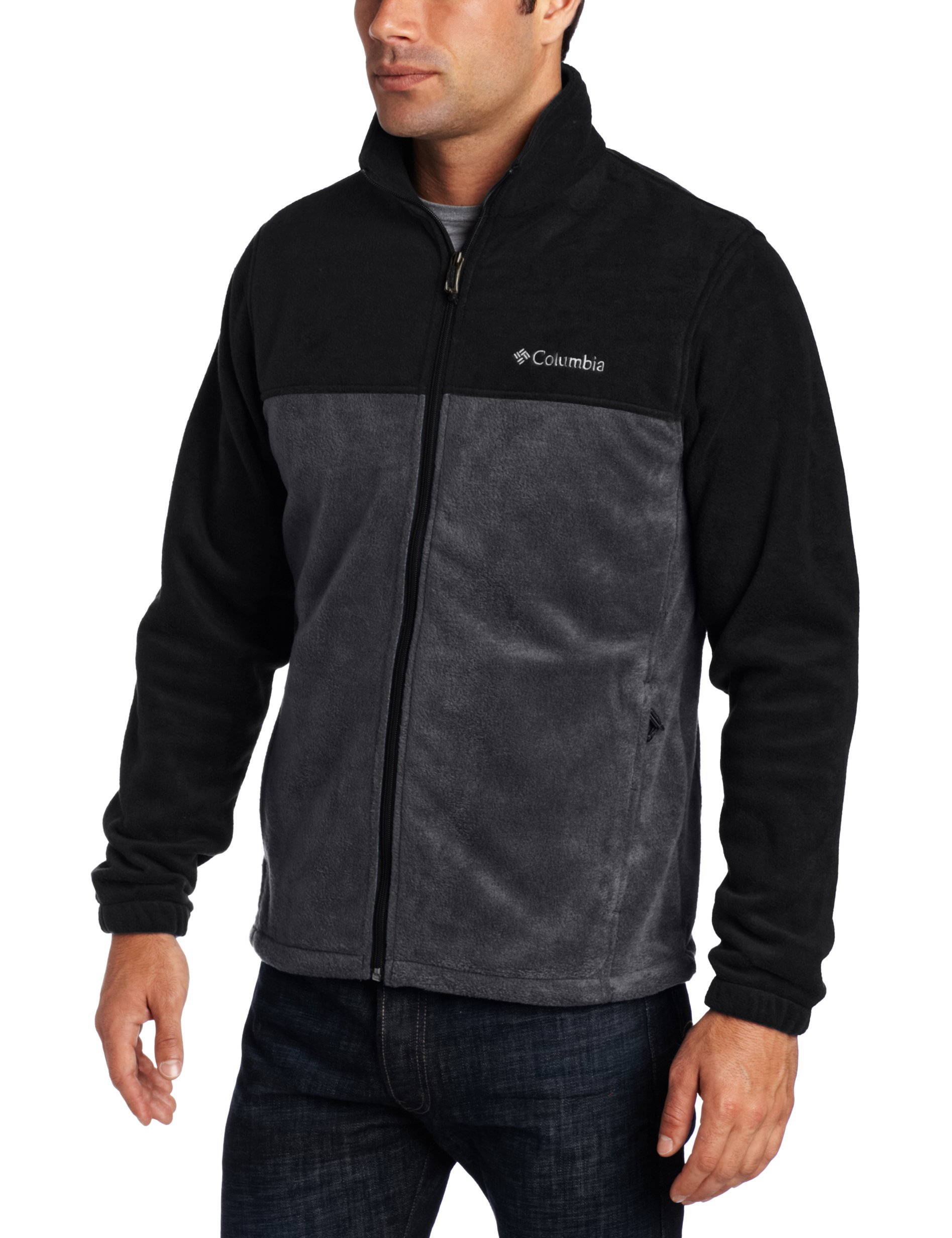 Columbia Men's Tall Steens Mountain Full Zip 2.0 Fleece Jacket, Black/Grill, Large/Tall