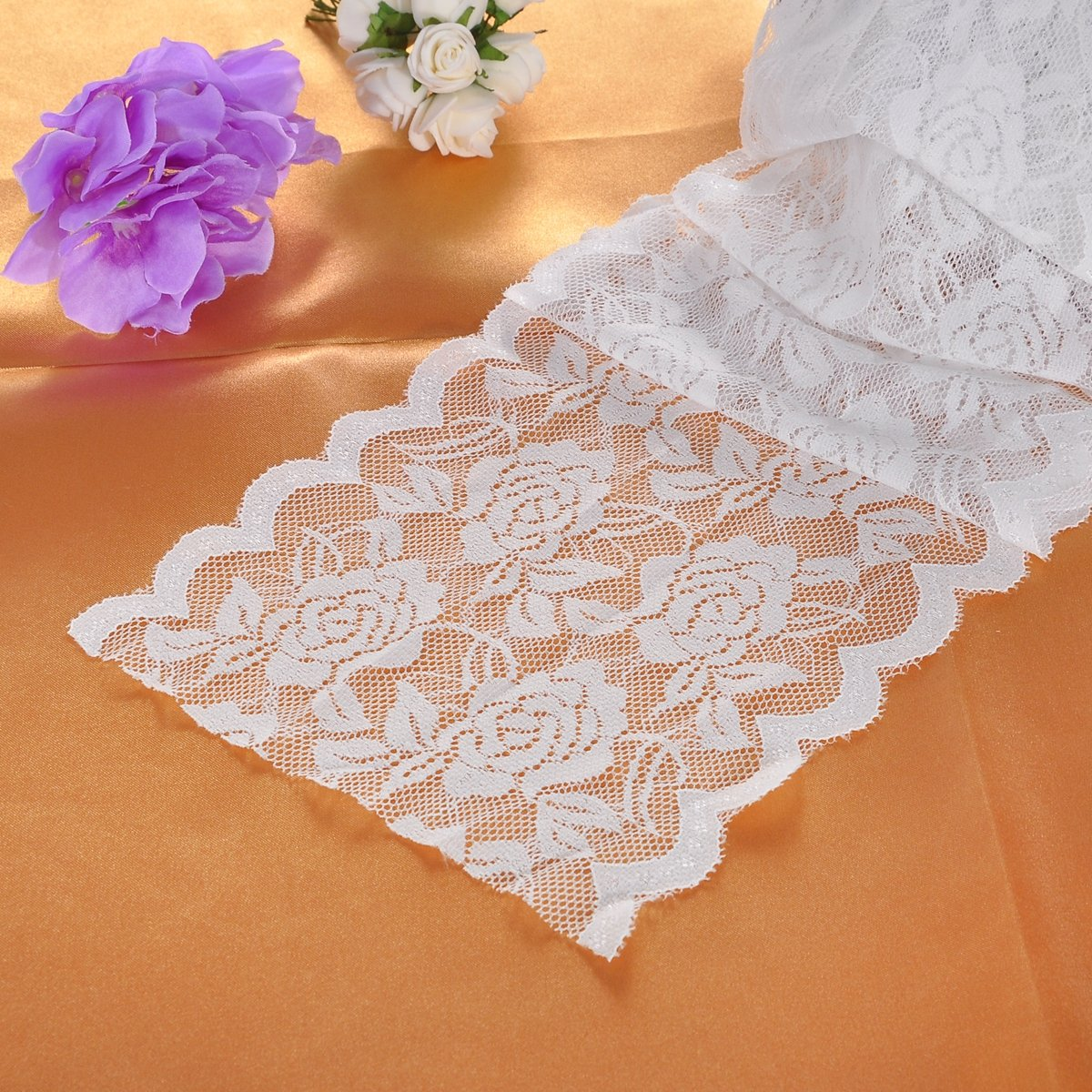HOUSWEETY 5Yards 3cm White Elastic Lace Trim Ribbon Fabric DIY Decor Crafts Sewing Suppies