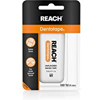 Reach Dentotape Waxed Dental Floss with Extra Wide Cleaning Surface for Large Spaces between Teeth, Unflavored, 100…