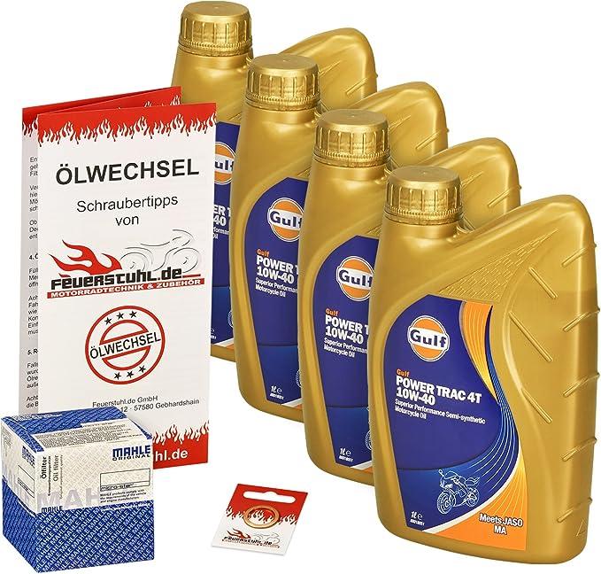 Gulf 10w 40 Öl Mahle Ölfilter Für Honda Cbr 900 Rr Fireblade 92 99 Sc28 Sc33 Ölwechselset Inkl Motoröl Filter Dichtring Auto