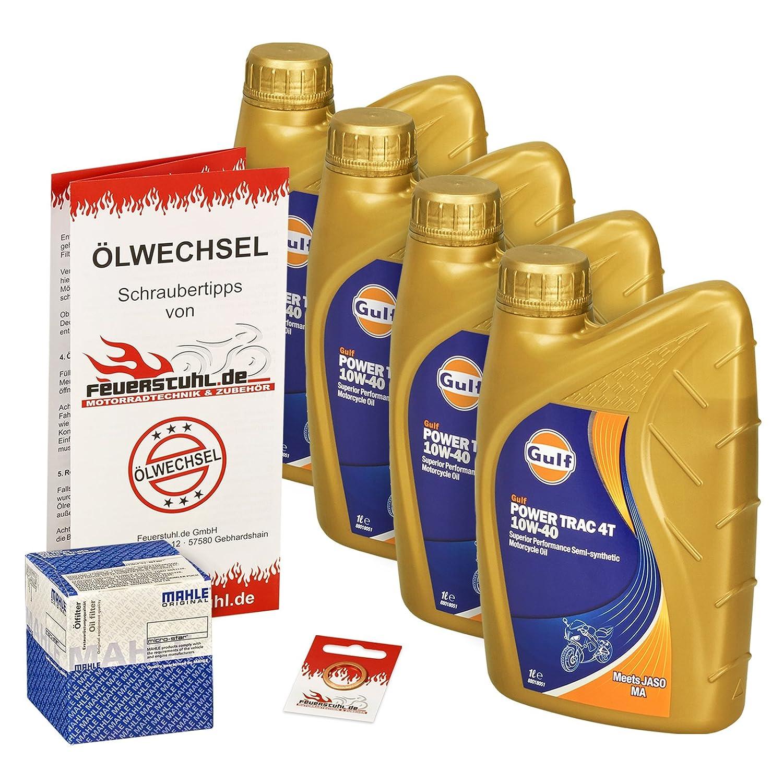 Ölwechselset Gulf Power Trak 10W-40 Öl + Mahle Ölfilter für Honda CBF 500, Bj. 04-08 (Typ PC39); Motoröl + Filter + Dichtring Feuerstuhl.de