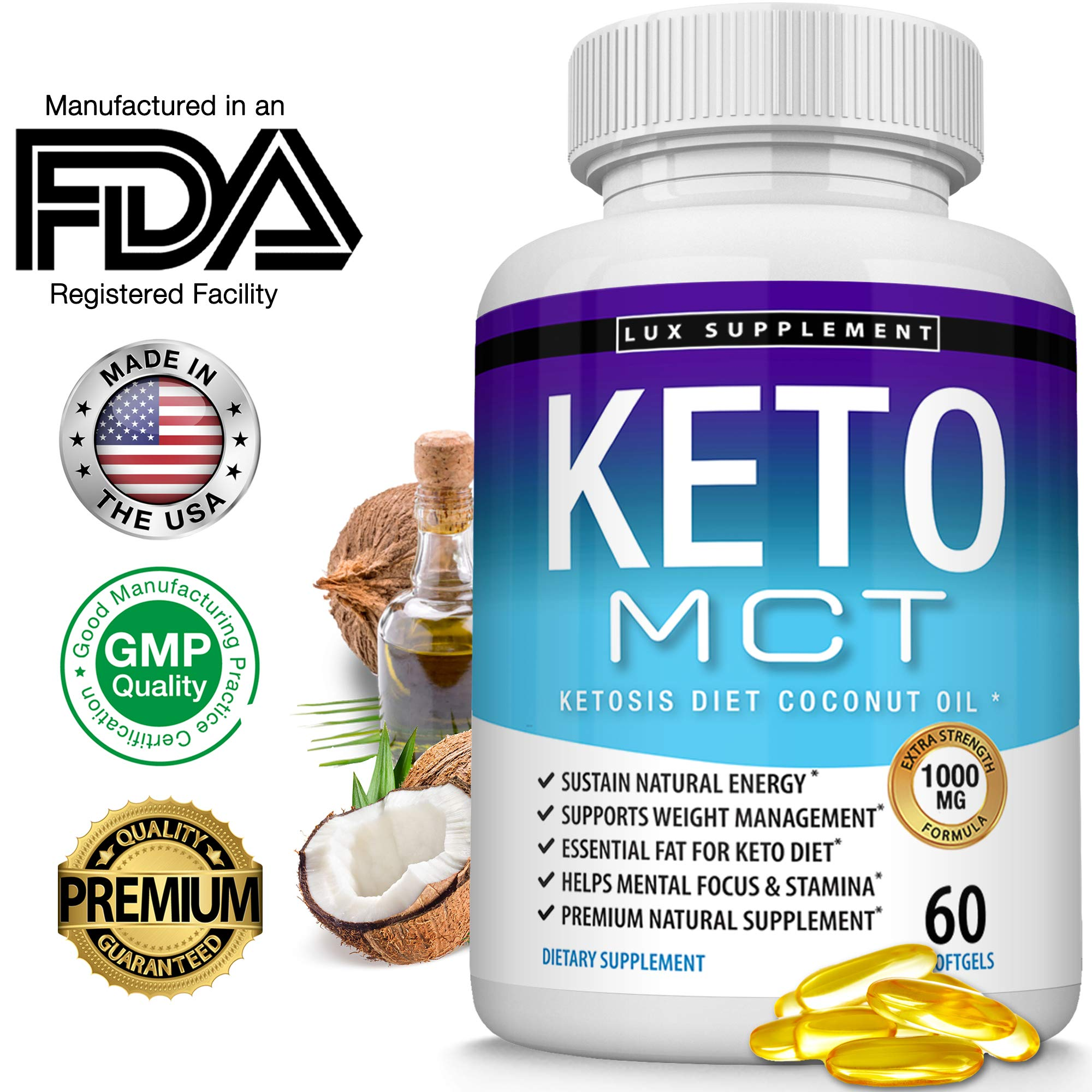 Lux Supplement Keto Mct Oil Softgels Advanced Ketosis Diet - 1000 Mg Natural Pure Coconut Oil Extract Pills for Ketogenic & Ketone Diet, Easy to Digest Fuel for Energy & Brain, Men Women, 60 Softgels by Lux Supplement