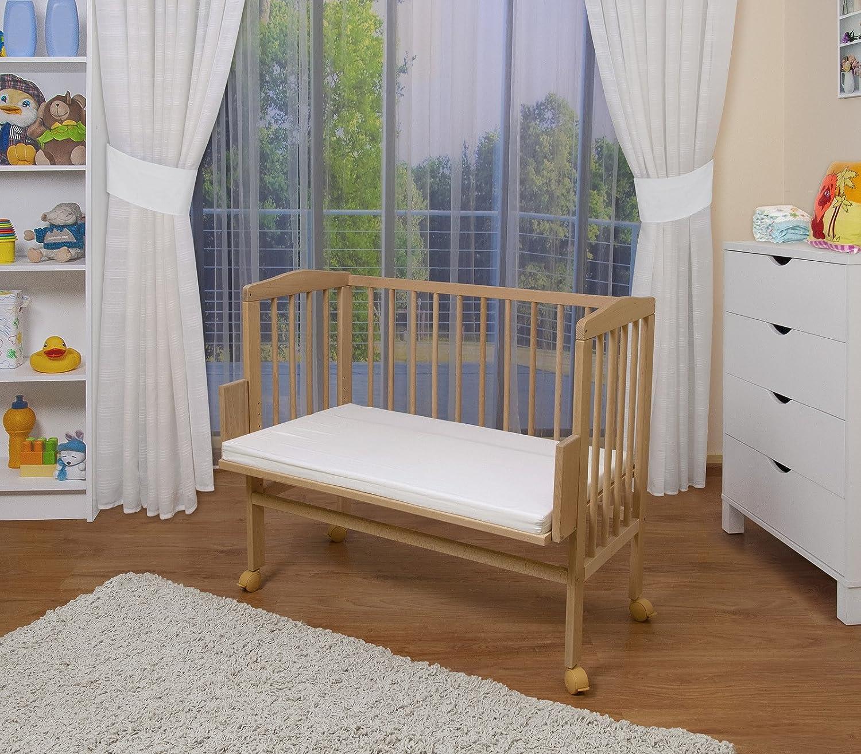 bois naturel ou blanc laqu/é,blanc laqu/é,Surface de couchage extra large L 90 x l 55 hauteur r/églable WALDIN Lit cododo pour b/éb/é//berceau
