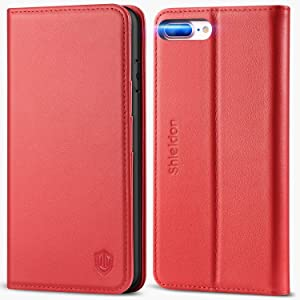 SHIELDON iPhone 8 Plus Case, iPhone 7 Plus Case, Genuine Leather Wallet Flip Book Cover Design with Kickstand and ID Card Slot Magnetic Closure Shockproof Case Compatible with iPhone 8 Plus - Red