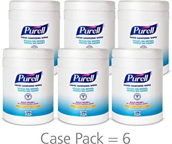 6-Pack Purell Hand Sanitizing Fresh Citrus Scent Alcohol-free formula Wipes