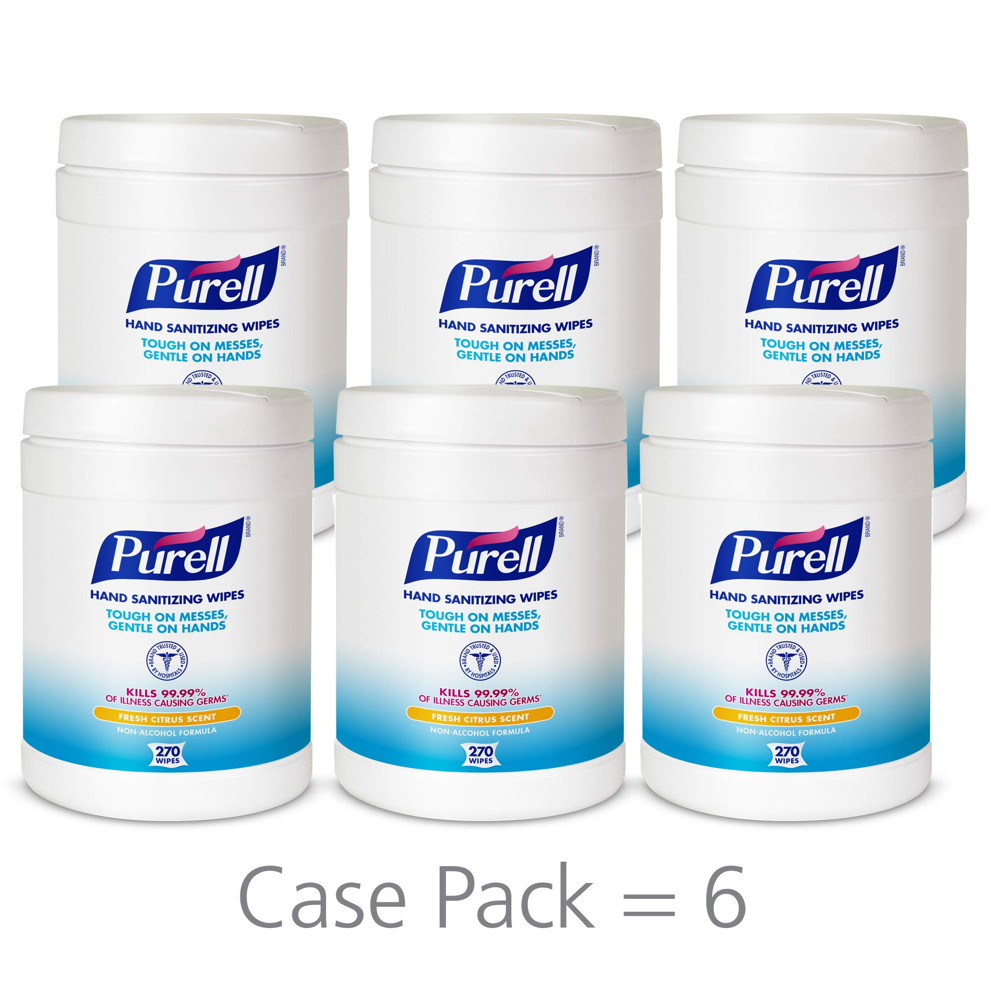 PURELL Hand Sanitizing Wipes, Fresh Citrus Scent, 270 Count Alcohol-free formula Sanitizing Wipes in Eco-Fit Canister (Case of 6) - 9113-06 by Purell