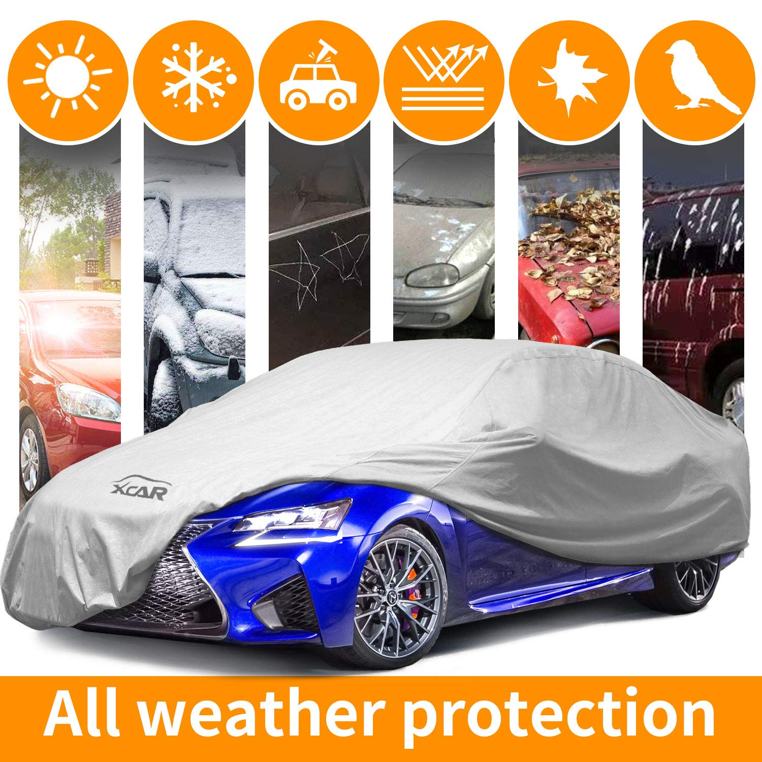 XCAR Breathable Dust Prevention Car Cover-Fits Sedan Hatchback Up to 228 Inch in Length