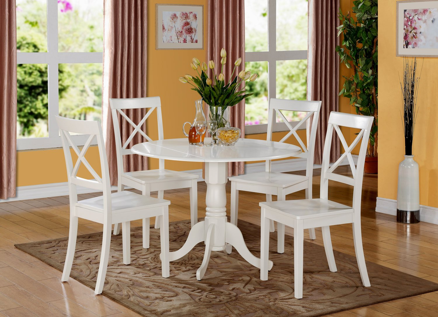 East West Furniture DLBO5-WHI-W 5 PC Kitchen Set-Small Table and 4 dinette Chairs, 5 Pieces, Linen White Finish by East West Furniture