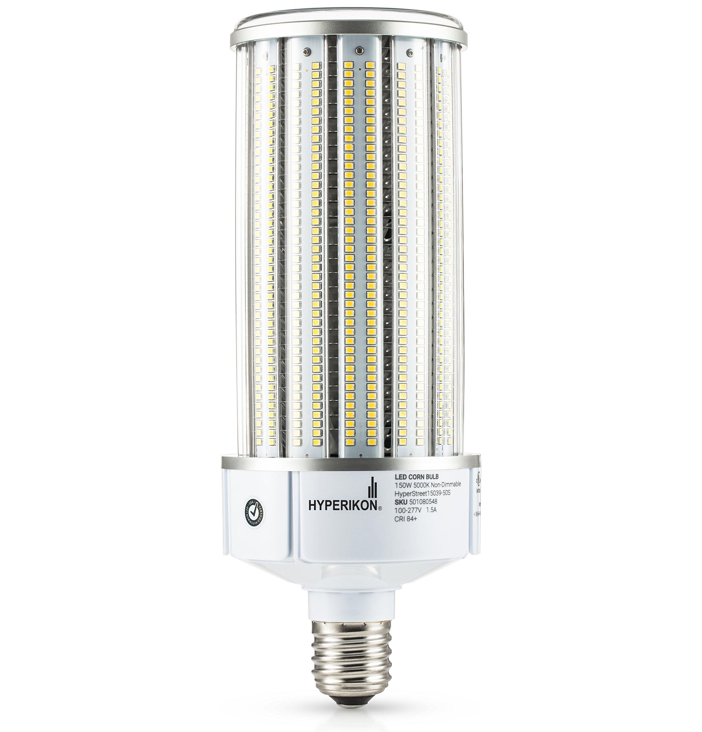 Hyperikon LED Corn Bulb Street Light 150W (HIP/HID Replacement) 19500 Lumen, Large Mogul E39 Base, 5000K Outdoor Indoor Area Lighting, IP64 Waterproof, UL