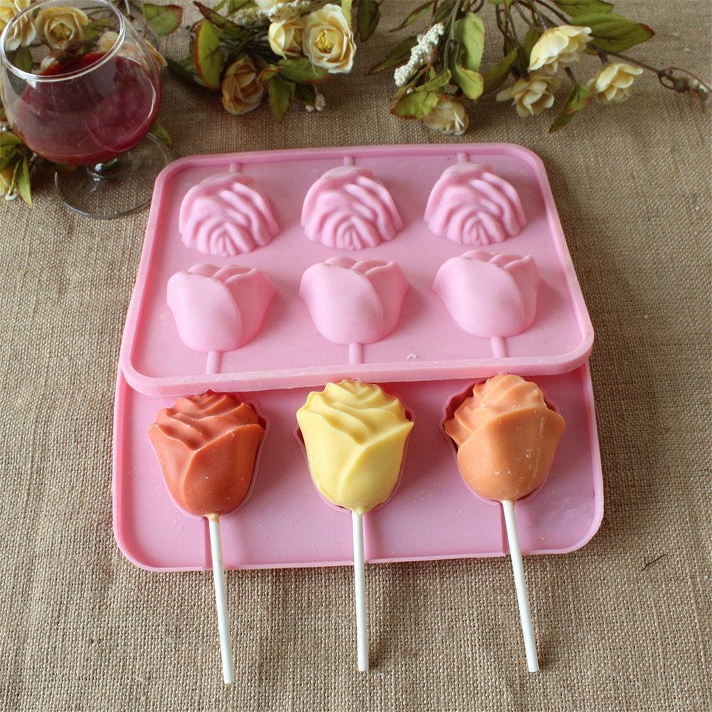 Amazon.com: Yunko 3d Rose Flower Lollipop Shape Silicone Chocolate ...