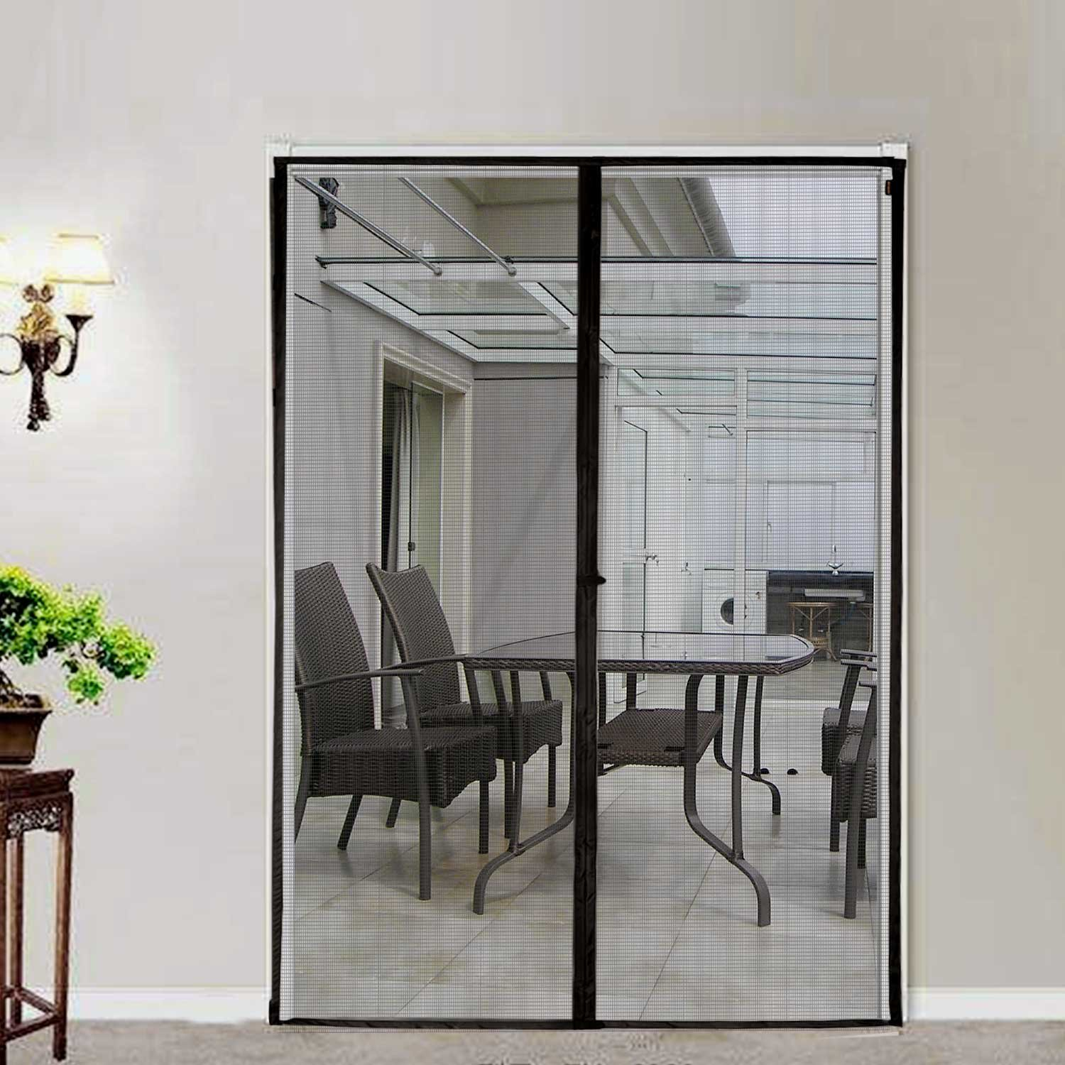 Sliding Screen Door Magnetic Mesh Screen Fiber Heavy Duty Large