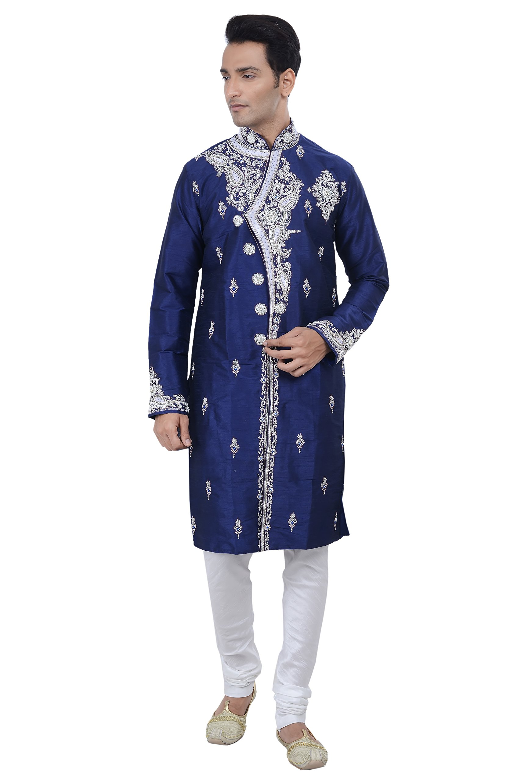 Rajwada Indian Designer Off-White Kurta Sherwani for Mens 2pc Suit