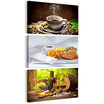 decomonkey Bilder Küche Kaffee 60x120 cm 3 Teilig Leinwandbilder ...