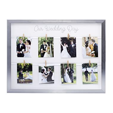 Kate & Milo Keepsake 'Our Wedding Day' Collage Picture Frame, Wedding Gift, Newlywed Gift, Silver