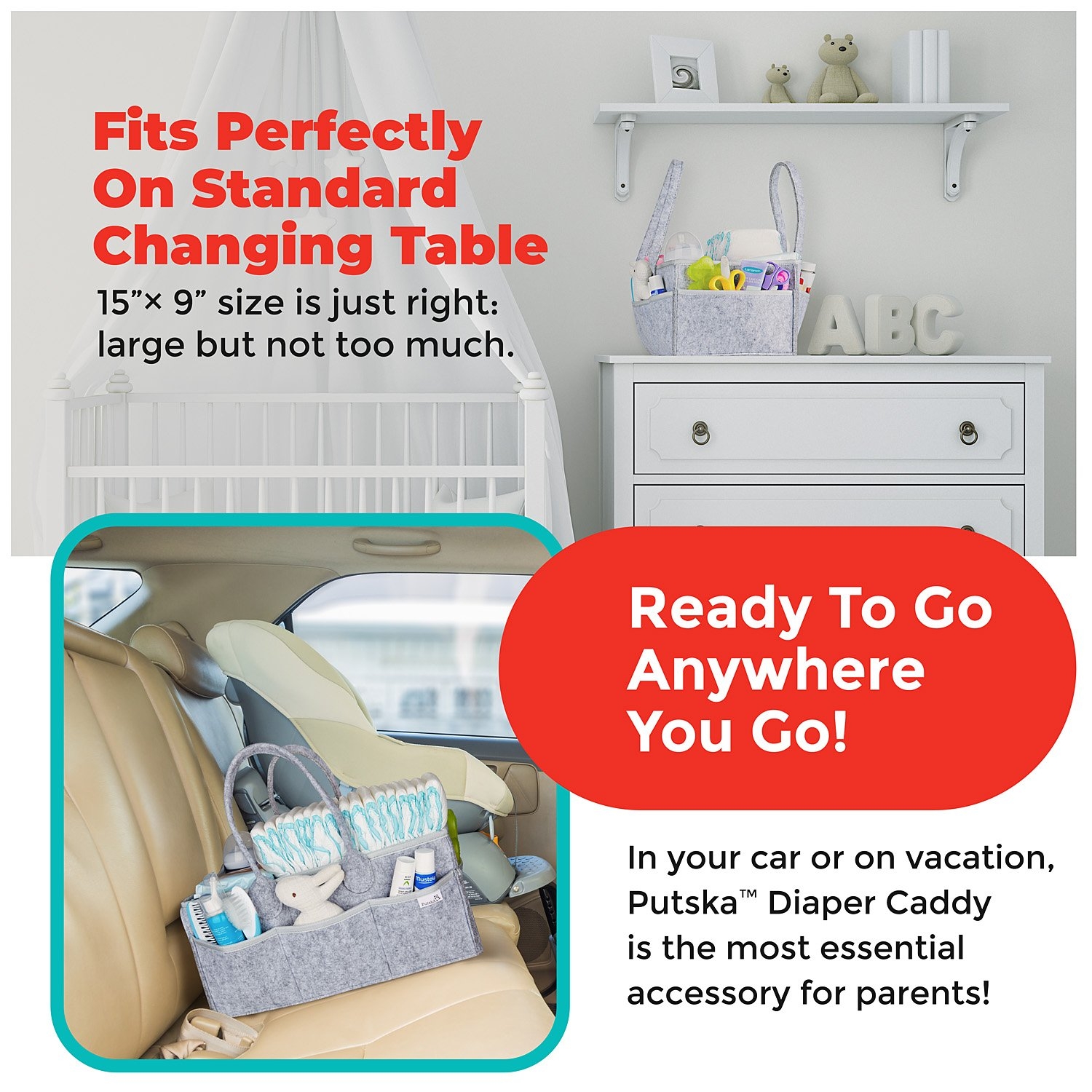 ... 15x9x7u0027u0027 Nursery Storage Basket For All Baby Essentials, Portable  Diaper Holder Bag For Car And Changing Table  With Pacifier Clips, Bandana  Bibs : Baby