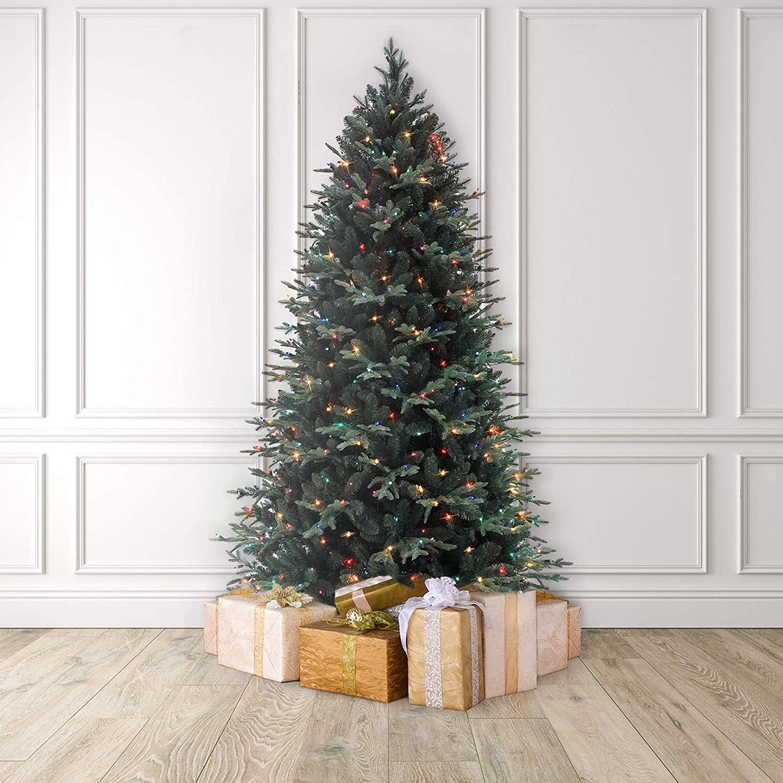 MARTHA STEWART Blue Spruce Pre Lit Artificial Christmas Tree 7 5 Feet Multicolored Lights