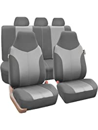 FH GROUP FB101115 Supreme Twill Fabric High Back Full Set Car Seat Covers Airbag
