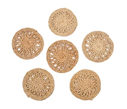 WeDeshi Round Coaster Pack of 6,Material: Jute